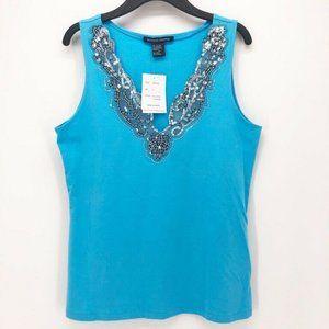Boston Proper Womens Blouse Blue Sleeveless S